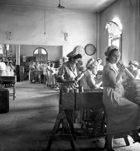 Εργάτριες της ΑΒΕΖ συσκευάζουν μακαρόνια